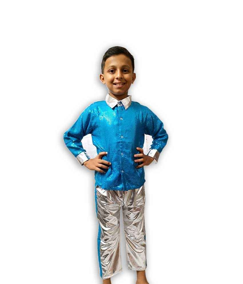 Hire Blue Silver Shirt Pant Western Dance Costume