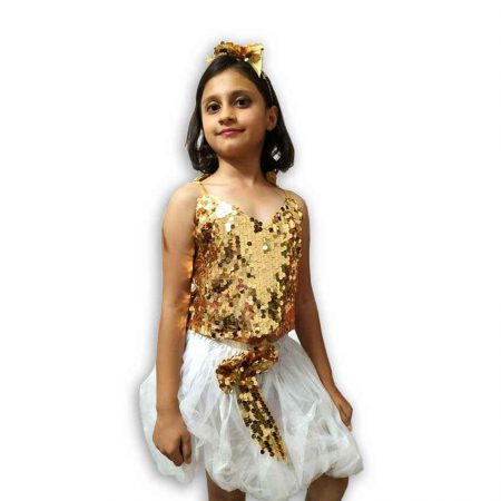 Hire Golden Top White Skirt Western Dance Costume