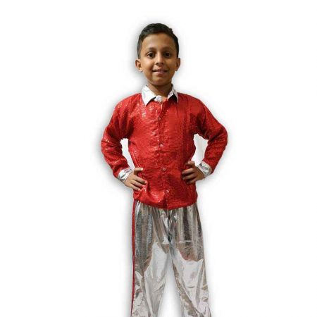 Hire Red Silver Shirt Pant Western Dance Costume